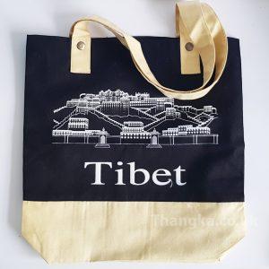 Black fabric reuse shopping bag tibet potala design