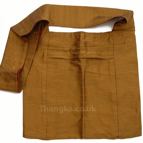 Gold colour fabric shoulder shopping bag
