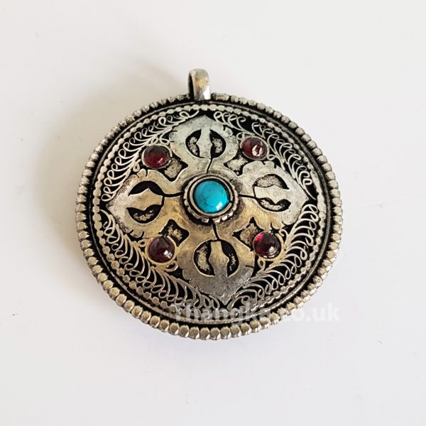 double sided metal pendant crossed vajra