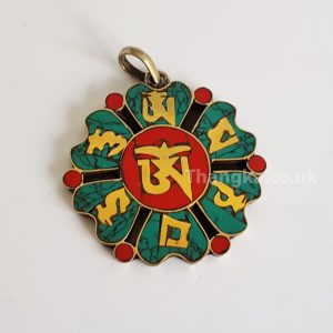 Lotus shaped tibetan Om pendant