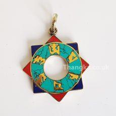 om mani turquoise circular pendant