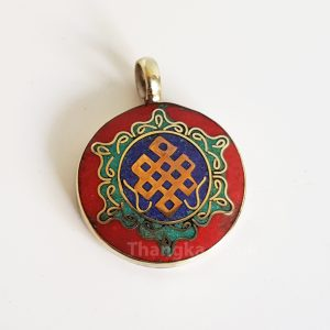 Eternal knot pendant in blue, red and turquoise