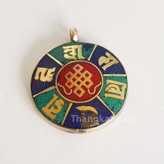 Turquoise Lapis Lotus Om Mani Knot pendant