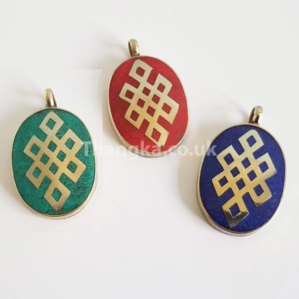 turquoise lapiz and coral eternal knot pendants