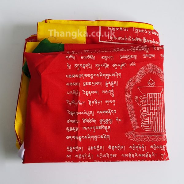 Red vertical tibetan prayerflag Dharchog