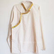 Brocade trimmed edged Cream Tibetan Shirt