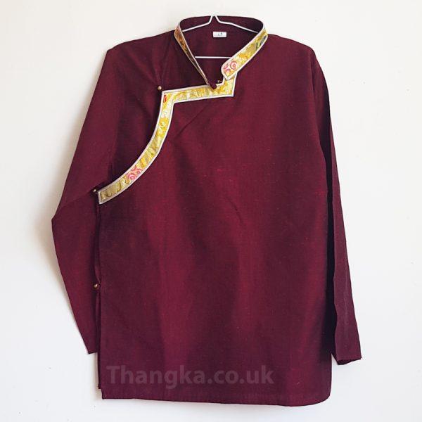 Maroon Tibetan Shirt with Golden brocade trim
