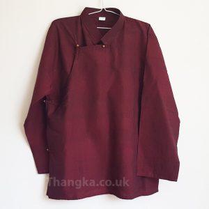 Maroon traditional tibetan shirt uk