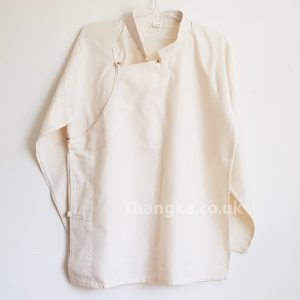 Traditional cream coloured button across tibetan shirt