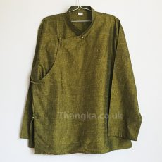 Olive Tibetan Shirt on hanger