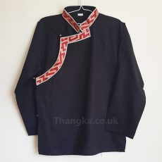 Black tibetan shirt with red brocade edge trim