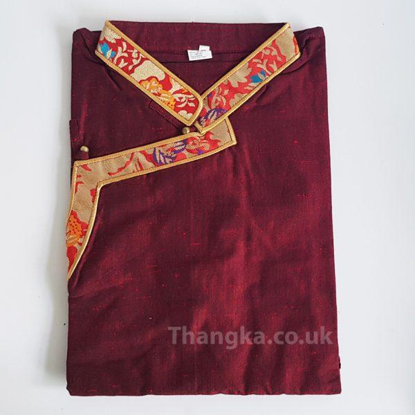 Maroon tibetan shirt with red brocade edging