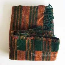 Dark green & orange Fleecy Blanket Shawl