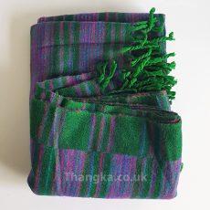 Green purple stripe tibet shawl mediation shawl travel blanket