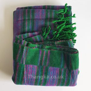 Green purple stripe tibet shawl mediation shawl travel blanket