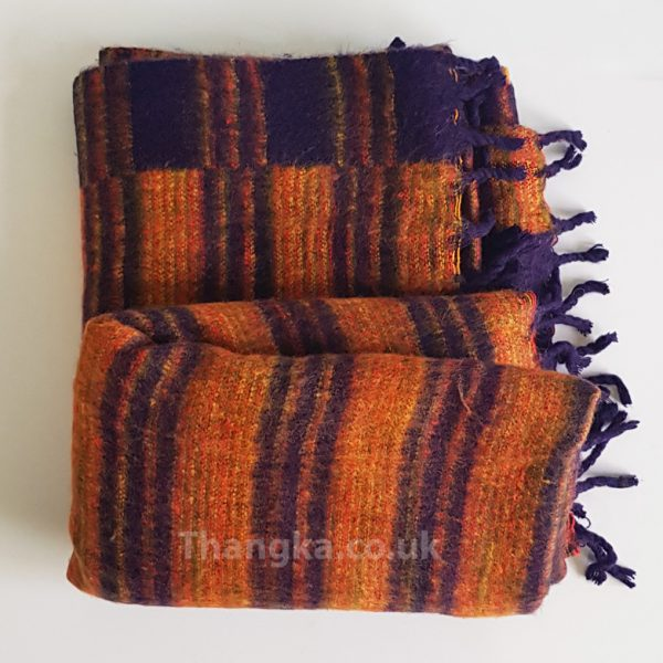 dark orange tibet blanket fleece shawl