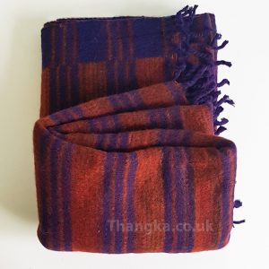 Brown and blue striped tibet shawl blanket