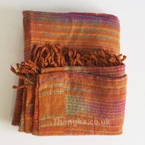 Orange brown blanket fleece shawl