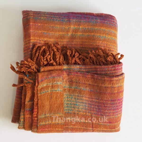 Orange brown blanket fleece shawl