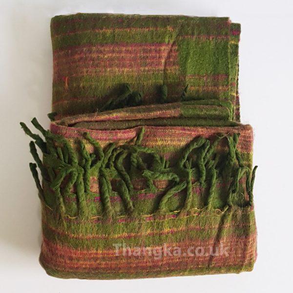 Green & Brown striped tibet blank shawl