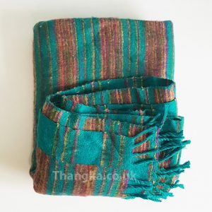 Striped green and brown Tibet Blanket Shawl