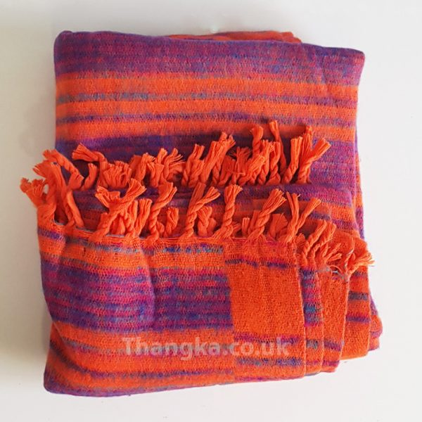 Orange Purple Shawl Meditation Blanket