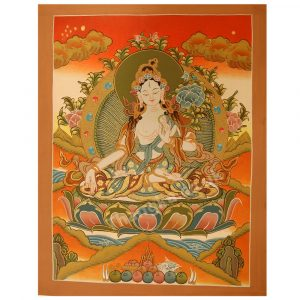 image of white tara thangka