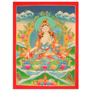 image of dolkar, white tara thangka, traditional tibetan art