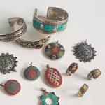 display of selected tibetan jewellery items